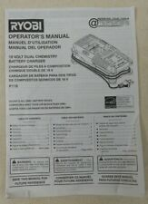 Genuine RYOBI 18 Volt Battery Charger  - Model P118 - Operator's Manual Only