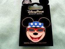 Disney * Patriotic Mickey Face / Icon - Bandana & Sunglasses * New on Card Pin