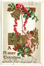 A Merry Christmas Santa Rosa Taxicab Holly Bell Vintage Embossed Postcard