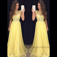 New Yellow Chiffon Bridesmaid Dresses Long Evening Formal Party Ball Prom Gown