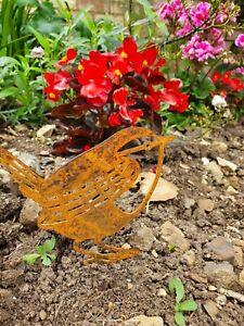 Garden Post Topper Art Steel Rusty wren metal Bird Flower pot Bed ornament gift