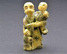 Vintage Hand Made Man with Babies Netsuke Okimono Japanese Hand Done Scrimshawed
