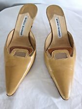 MANOLO BLAHNIK LEATHER 2 TONE BEIGE POINTED-TOE MULE HEEL SANDAL SIZE 7 1/2