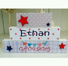 Shabby Chic personalised freestanding name baby christening wooden blocks gift