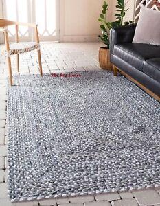 Rug 100% Natural Cotton Braided style Runner Carpet Modern Living Area Rag Rug
