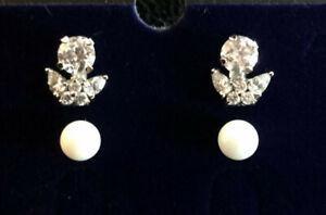 Sterling Silver Earrings Jacket Enhancer Set CZ + Pearl 3pc 5-6mm 3g 925 #1791