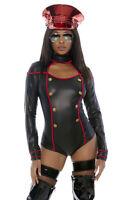 Forplay Sexy Militant Miss Soldier Officer Black Bodysuit Uniform Costume 555123