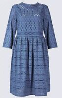 ex M&S Broderie Anglaise Lace Skater Casual Summer Dress