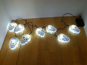 Halloween light sugar skull shaped string light day of the dead blow mold lights