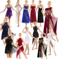 Women Sleeveless Sequined Ballet Leotard Dress Contemporary Stage Dance Costume