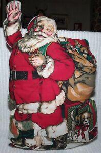 "Cut n Sew Santa Claus Pillow Stuffed 19"" x 13"" Waving Vintage Christmas Finished"