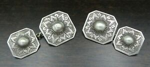 Antique 1900s Central European 800 Coin Silver Traditional Dress Cuff Links
