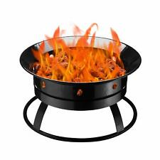 New listing Outdoor Round Black Propane Gas Fire Pit Bowl Portable Firebowl with Stones