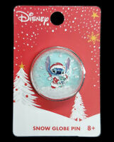 Loungefly Disney Collectible Stitch & Scrump Snow Globe Christmas Pin NEW
