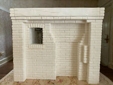 Vintage Miniature Dollhouse White Primitive Plaster Brick Fireplace England