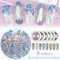 Nail Art Glitter Powder Dust UV Gel Acrylic Powder Sequins Christmas Nails Tips
