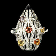 Ring Saphir bunt & CZ 925 Silber 585 Weißgold vergoldet Gr. 57