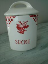 Le Comptoir De Famille Sucre Cannister France Ivory Red Cherries Ceramic NEW
