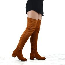 Womens Over The Knee Boots Low Heel Ladies Zip Casual Riding Thigh High Boots