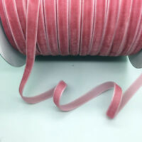 """5Yards 3/8"""" 10mm Light Pink Velvet Ribbon Clips Crafts Sew Clips Bow Decoration"""