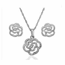Womens Silver Cubic Zirconia Flower Jewellery Set Studs Earrings & Necklace Gift
