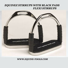 "Stainless 5""FLEX English Saddle Stirrups Iron Pad Knee Ankle Stress Pain Relief"