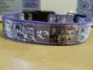 I Love Lucy inspired dog collar (gray)
