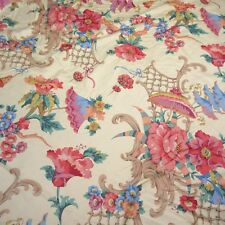 "Vintage Floral Pattern Print Fabric Panel Remnant ""Cyrus Clark Co. Inc."" 57 x 52"