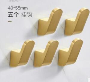 Brushed Gold 5pcs Robe Hook Towel and Coat Hook Round Hanger Brass For Bathroom