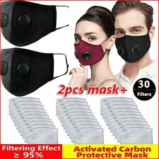 Face Mask Cotton With Pocket For 2 Filter Exhalation Valve Reusable Mouth Cover