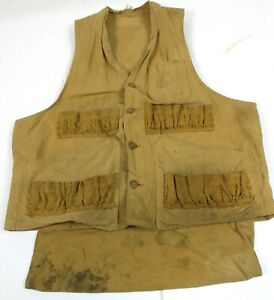 Vintage Unbranded Duck Cloth Hunting Vest w/ Game Pocket, Small  - stains #H1700