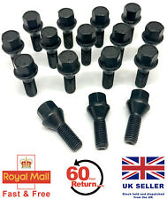 16 x alloy wheel bolts M12 x 1.5 taper 17mm Hex Black for Lada cars