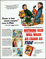 1954 Women grocery shopping Tide Laundry Dtergent vintage art print Ad adL48