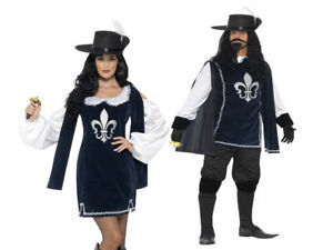 Mens Ladies Medieval Musketeer Fancy Dress Costume French Historical New