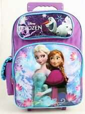 "Disney Frozen Anna and Elsa Large School Rolling Backpack Bag 16"" For Girls Kid"