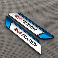 Pair Door Side Metal Mugen Badge Blue Chrome Sport Fender Emblem Sticker 3d Logo Fits 2012 Honda Civic