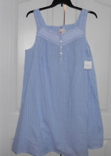 New listing Croft and Barrow Nightgown 100% Cotton Sleeveless Blue White Striped 4X Nwt