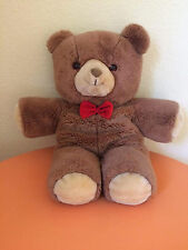 "Vintage Brown Gerber TLC Bear Teddy Stuffed Animal Plush 20"" Soft Red Bowtie"