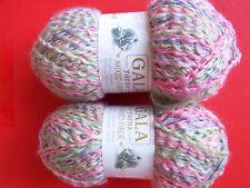 Gala Yarns Mixed Fiber textured yarn, pastel tones,  lot of 2