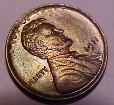 1911-P Lincoln Cent ~Gem Uncirculated ~Iridescent Russet & Olive Green Color**