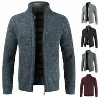 Men Winter Warm Slim Sweater Knitted Cardigan Jumper Zip Fleece Lined Coat Tops