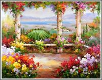 Signed Italian Garden Landscape, Stretched Oil Painting On Canvas 30x40 inches