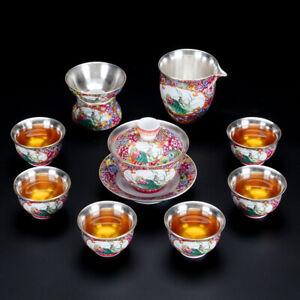 complete tea set 999 sterling silver tea pot gaiwan tea cup pitcher porcelain