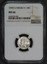 1945-S 10c MERCURY DIME NICE HIGH-GRADE VARIETY, LUSTER! MICRO S *NGC MS66 #N965
