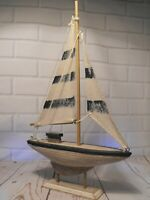 MODEL YACHT BLUE AND WHITE SAILING BOAT SHABBY CHIC SEASIDE BEACH ORNAMENT GIFT