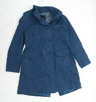 Betty Jackson Black Womens Size 16 Wool Blend Blue Double Breasted Coat