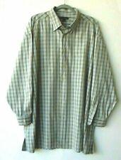 Ermenegildo Zegna Shirt Size 3XB  Button Down Dress Tan Khaki Blue Plaid