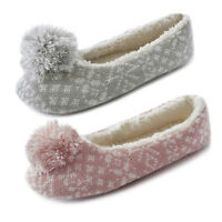 LADIES GIRLS KNITTED BALLERINA POM POM FUR SLIPPERS PINK GREY Size 3/4 5/6 7/8