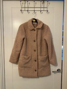 George Girls Pale Pink Boucle / Teddy Winter Coat Size 9-10 Years