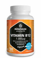 (€37,71/100g) Vitamin B12 hochdosiert 180 Tabletten Methylcobalamin vegan